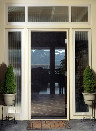 Retractable Phantom Door Screens On A Double French Inswing Doorway